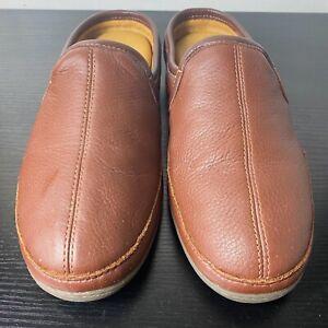 LL Bean men's brown leather padded Elkhide house slippers size 11 M 272349