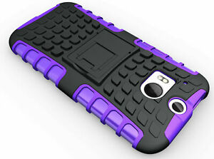 For HTC One M8 Purpe Rugged Strong Workman Tradesman Heavy Duty Case Cover