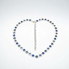 Damen Halskette Collier Tennis 925 Silber Versilbert Swarovski Kristalle Blau