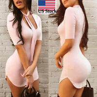 Sexy Women Slim Fit Bodycon Half Sleeve Evening Sexy Party Cocktail Mini Dress
