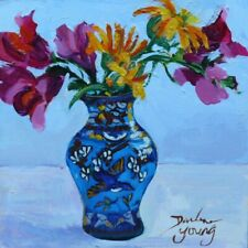 Snapdragons in a Bluebird Vase, 6x6, oil,  Darlene Young Canadian Artist