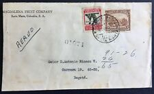 Colombia cover 1937 Magdalena Fruit Co Santa Marta to Bogota