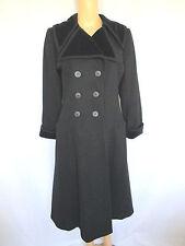 Vintage Saint Laurent Coat US 6 EU 38 Black Double Breasted Velvet Collar & Cuff