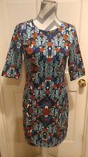 Ladakh Blue floral Print Shift Dress 3/4 sleeve lined full zipper size 10