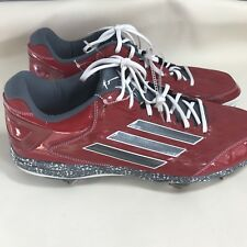 Adidas Power Alley 16 Pro Metal Low Baseball Softball Cleats Red/Gray D74068 y24