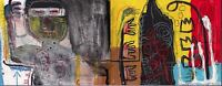 """Jean Michel Basquiat Oil Painting on Canvas """"Untitled"""" Abstract HUGE 24x48"""""""