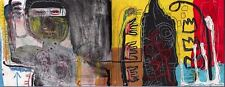 """Jean Michel Basquiat Oil Painting on Canvas """"Untitled"""" Abstract HUGE 24x62"""""""