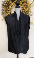 PAS DE CALAIS Black Drape Cowl Top Blouse Size F L/XL