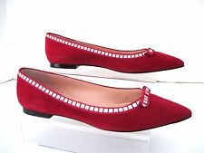 MARC by MARC JACOBS Red Suede Pointed-Toe Flats Silver Studs Bows SZ 39 NIB