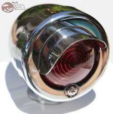Mini Marker Utility Accent Light Lamp Assembly Chrome Red Lens Hot Rat Rod New