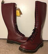 New Dr. Martens Doc Martens 1B60 20 Eye Knee High Boot, Cherry Red, UK 6