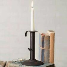 Primitive Colonial Rustic Style Hog Scraper Iron Taper Candle Holder Farmhouse