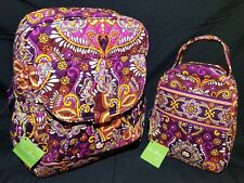 Vera Bradley Safari Sunset Bookbag + Let's Do Lunch Tote 10612-112/11512-112 NWT