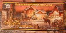 White Mountian Puzzles Panoramic 700 pc.Puzzle Trimming the Tree by Terry Redlin