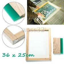 "Silk Screen Printing Frame 16"" x 12"" with 43T mesh & 8'' Wooden Squeegee DIY"