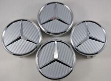 4 PC SET Mercedes Benz Wheel Center Caps Emblem Silver Carbon Fiber Hubcaps 75MM