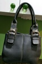 Tignanello Black Pebbled Leather Arm Shoulder Hand Bag with buckles & grommets