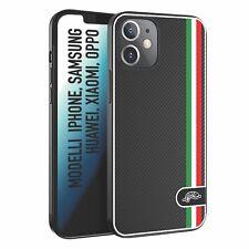 Cover Custodia tpu morbida nera Customizza effetto fibra di carbonio Italia flag