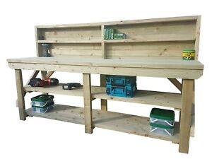 Work Bench Wooden Indoor / Outdoor Industrial Garage Table - Suitable For Vice