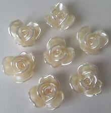 10 Ivory Pearl Flower Cabochons - 20mm Lg Flatbacked / ABS Imitation / Acrylic