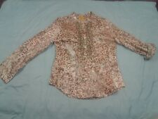 Ruby Rd Size 6P Blouse Top Brown & Pink 3/4 Sleeve Womens Shirt Animal Print