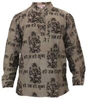 Mens Light Weight Festive Hippie Shirt Boho Festival Collarless Men Casual Shirt