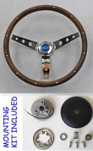 "C10 C20 C30 Chevy Blazer Pick Up Grant Wood Steering Wheel Blue Cap 13 1/2"""