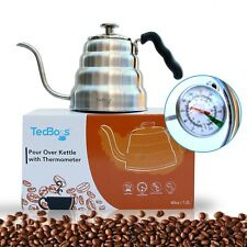 Gooseneck Tea Kettle, Built-in Thermometer Glass Lid Pour Over Coffee Maker 1.2L