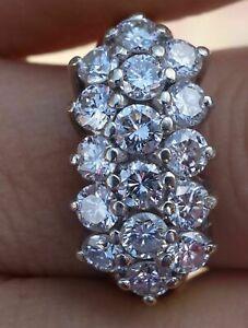 2.10Ct Round Cut Diamond Cluster Engagement & Wedding Ring 14K White Gold Finish