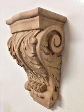 Hand Carved Cherry Wood Corbel Acanthus Leaf Design Stain Grade Bar Corbel