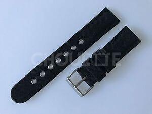 Genuine Citizen Eco-Drive BV1085-06E, CA0255-01E 22mm Black Nylon Watch Band