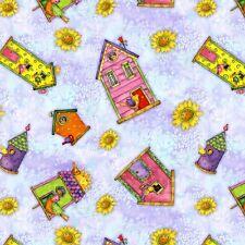 Birdhouse Gardens Houses Debbie Hron Quilt Fabric by the 1/2 yard