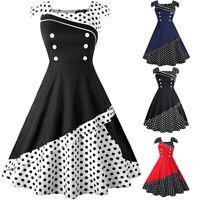 Women Sleeveless Dot Print Button Patchwork Vintage Evening Party Swing Dress DZ