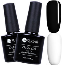 2Pcs 7.5ml Nail UV Gel Polish Soak off Nail Art White Black Gel Kit UR SUGAR