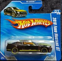 HOT WHEELS 2010 FORD MUSTANG GT HW GARAGE - BLACK, YELLOW - SHORT CARD - NEW