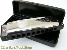 Professional swan blues power harmonica+case harp D tuned 10 hole 3 octaves