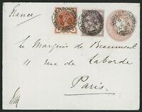 1887 1d envelope uprated d Vermillion and 1d Lilac