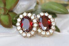4Ct Oval Cut Red Garnet Diamond Halo Unique Stud Earrings 14K Yellow Gold Finish