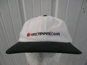 VINTAGE NIKE TENNIS CAMPS SEWN WHITE W/ BLACK BRIM  STRAPBACK HAT CAP 90s NWT