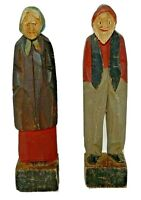 """Hand Carved Wood Folk Art Artist Old Man Woman Couple Figurines 5 7/8""""H Painted"""