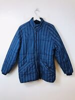 Blue Pin Striped Puffer Jacket Puffa Coat Stripe Stripes Navy Medium M Men's