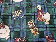 Kathi Walters Checkered Past Christmas Goose cotton fabric half yard cut 1/2