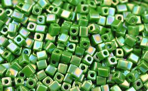 100 MIYUKI CUBE BEADS OPAQUE RAINBOW GREEN 4MM
