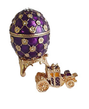 """Copie oeuf Fabergé - """" Le Couronnement """" Violet et Or fabrication artisanale"""