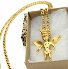 """Mens Gold Plated Stainless Steel Royalty Angel Pendant Hip-Hop 30"""" Cuban Chain"""