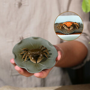 creative tea pet real yixing zisha crab purple grit color change desk decoration