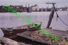 Railroad Pier Wood Boat Kewaunee Wisconsin 1960 Kodak 35mm Slide Maritime Theme