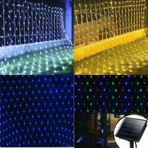Solar LED String Fairy Lights Curtain Mesh Net Christmas Party Garden Outdoor