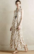 NEW Anthropologie white taupe Satiny Leaf Print Maxi Dress Petite S