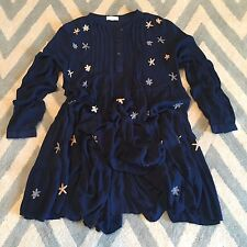 XL New Anthropologie Womens Boho Navy Hippie Embroidered Long Sleeve Dress LARGE